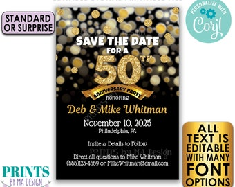 """Editable Black & Gold Glitter Anniversary Party Save the Date invite, PRINTABLE 5x7"""" Golden Invitation <Edit Yourself with Corjl>"""