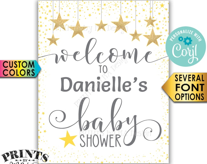 "Stars Baby Shower Welcome Sign, Twinkle Twinkle Little Star Baby Shower Decor, PRINTABLE 8x10/16x20"" Sign <Edit Yourself with Corjl>"