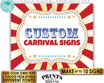 "Editable Carnival Signs, Circus Theme Birthday Party, Make Up to 10 Custom PRINTABLE 8x10/16x20"" Carnival Signs <Edit Yourself w/Corjl>"
