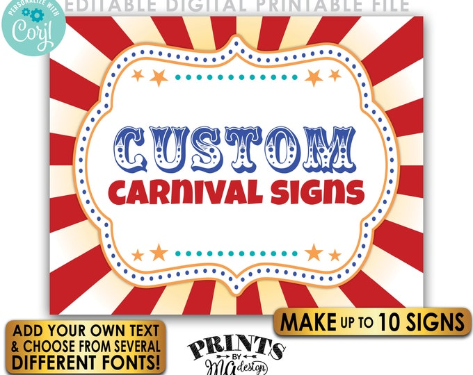 """Editable Carnival Signs, Circus Theme Birthday Party, Make Up to 10 Custom PRINTABLE 8x10/16x20"""" Carnival Signs <Edit Yourself w/Corjl>"""