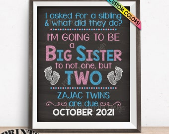 """Twins Pregnancy Announcement Sign, Promoted to Big Sister to Twins, Custom PRINTABLE 8x10/16x20"""" Chalkboard Style Expecting Twins Sign"""