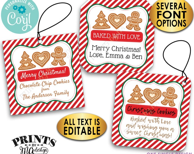"Christmas Cookie Bakery Tags, Custom 2"" Square Cards on a Digital PRINTABLE 8.5x11"" File, From the Kitchen Of <Edit Yourself with Corjl>"