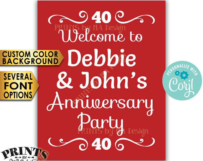 "Welcome to the Anniversary Party Sign, PRINTABLE 16x20"" Anniversary Decoration with a Custom Color Background <Edit Yourself with Corjl>"