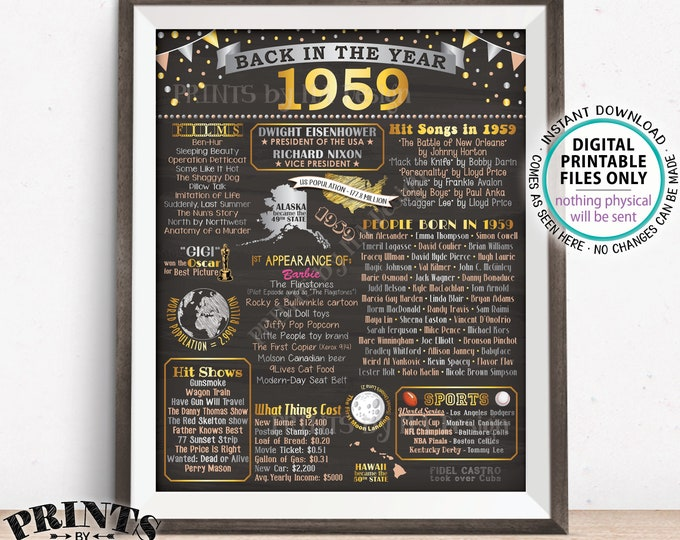 "Back in 1959 Poster Board, Remember 1959 Flashback USA History, Birthday Anniversary Reunion, PRINTABLE 16x20"" Sign <ID>"