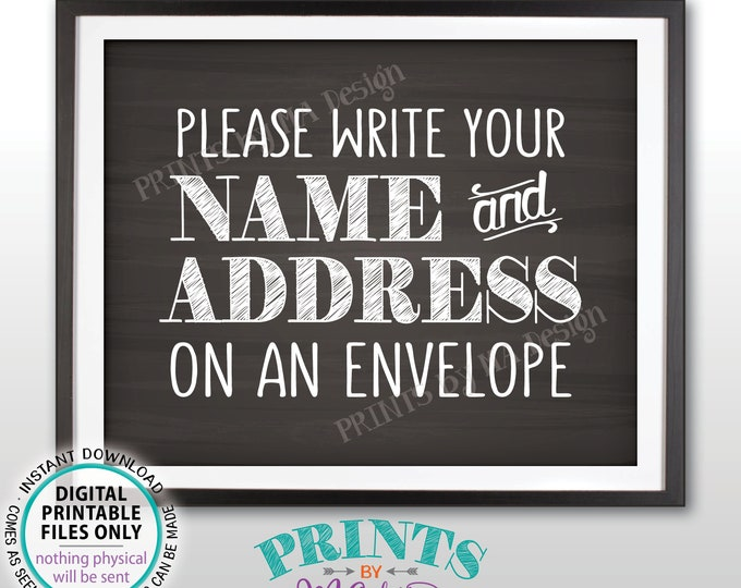 "Address an Envelope Sign, Bridal Shower, Gaduation Party Birthday Retirement, Wedding, Chalkboard Style PRINTABLE 8x10"" Addressee Sign <ID>"