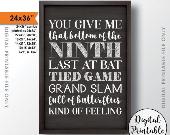 "Baseball Wedding Sign, Rustic Wedding Baseball Decor, Grand Slam Wedding, Instant Download 24x36"" Chalkboard Style Printable Sign"