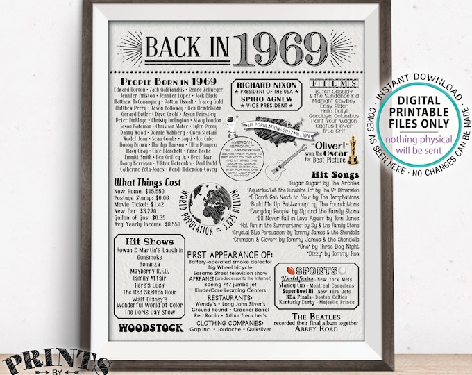 "Back in 1969 Poster Board, Remember 1969 Flashback USA History, Birthday Anniversary Reunion, PRINTABLE Textured Paper Style 16x20"" <ID>"