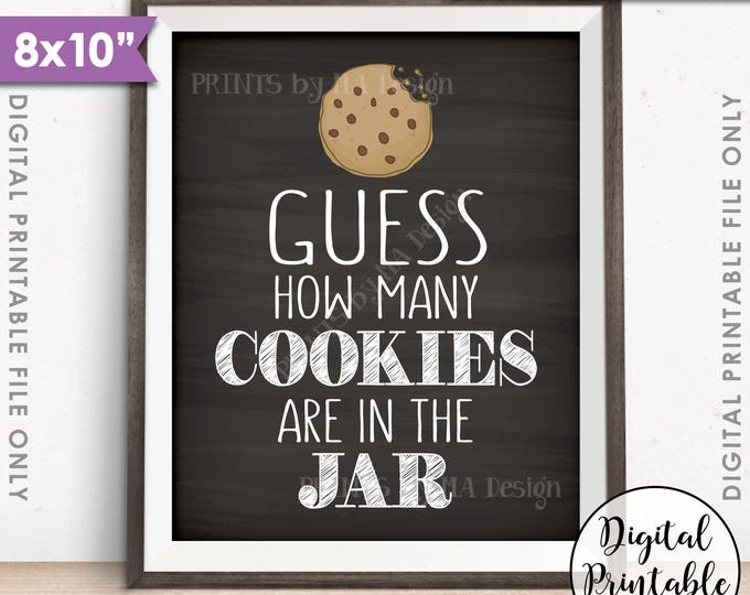 "Guess How Many Cookies are in the Jar Sign, Guess the Number of Cookies, Cookie Game, Chalkboard Style PRINTABLE 8x10"" Instant Download"