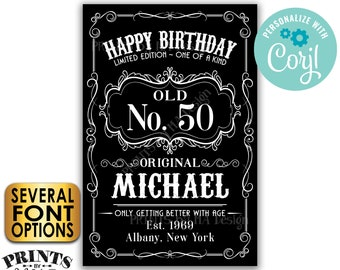 """Happy Birthday Sign, Vintage Whiskey Themed Birthday Poster, Better with Age, Custom PRINTABLE 24x36"""" B&W Sign <Edit Yourself with Corjl>"""