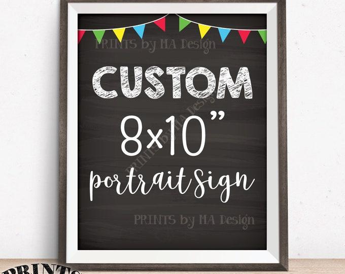 "Custom Sign, Fiesta Color Flags, Birthday Wedding Retirement Graduation, Choose Your Text, Chalkboard Style PRINTABLE 8x10"" Portrait Sign"