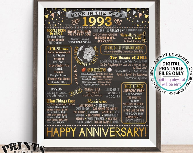 "Back in 1993 Anniversary Poster Board, Flashback to 1993 Anniversary Party Decoration, Gift, Custom PRINTABLE 16x20"" Sign"