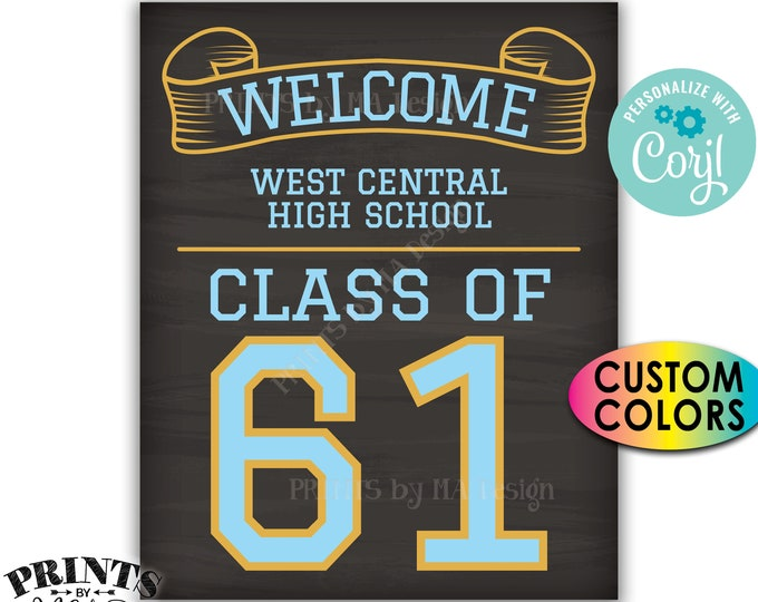 "Class Reunion Welcome Sign, Class of Reunion Decor, Custom PRINTABLE 8x10/16x20"" Chalkboard Style Sign <Edit Yourself with Corjl>"