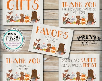 """Woodland Animal Baby Shower Signs, Bundle Pack, Sweet Treat Favors, Woodland Animals, Forest Friends Decorations, 5 PRINTABLE 5x7"""" Sign <ID>"""