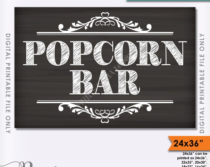 "Popcorn Bar Sign, Popcorn Party, Large Popcorn Sign, PRINTABLE Chalkboard Style 24x36"" Popcorn Sign <ID>"