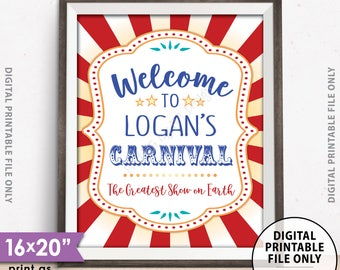 "Carnival Welcome Sign, Welcome to the Carnival Theme Party Sign, Carnival Games, Circus Theme Party, PRINTABLE 8x10/16x20"" Carnival Sign"