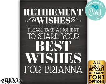 """Retirement Party Sign, Please Leave Your Best Wishes for the Retiree, PRINTABLE 8x10/16x20"""" Chalkboard Style Sign <Edit Yourself with Corjl>"""