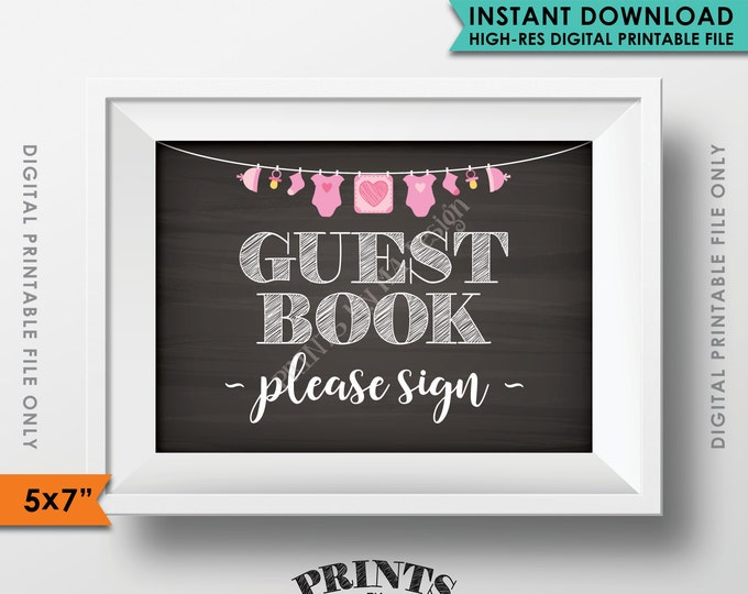 "Guestbook Sign, Please Sign the Guest Book Sign In, Pink Baby Shower Decorations, Instant Download 5x7"" Chalkboard Style Printable Sign"