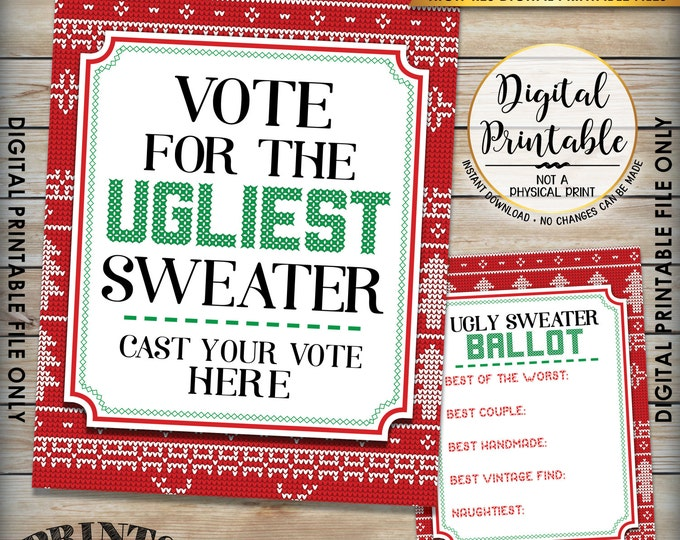 "Ugly Christmas Sweater Voting Sign and Ballots, Ugly Sweater Party, Christmas Party, 8.5x11"" sign & 5x7"" ballot Instant Download Printables"
