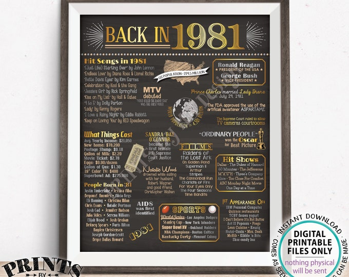 "Back in 1981 Poster Board, Flashback to 1981, Remember 1981, USA History from 1981, PRINTABLE 16x20"" Sign <ID>"
