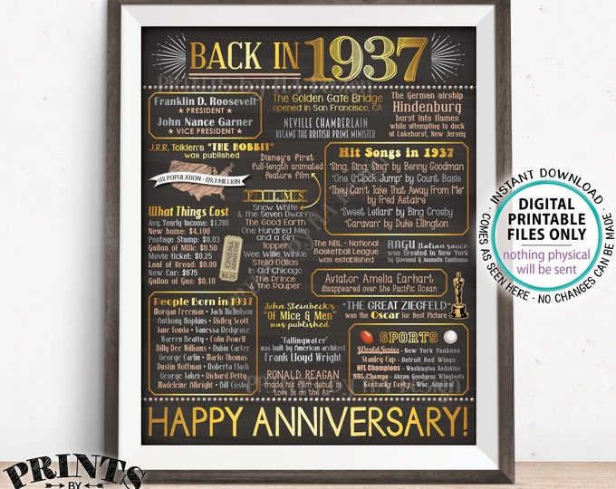 """Back in 1937 Anniversary Sign, Flashback to 1937 Anniversary Decor, Anniversary Gift, PRINTABLE 16x20"""" Poster Board <ID>"""
