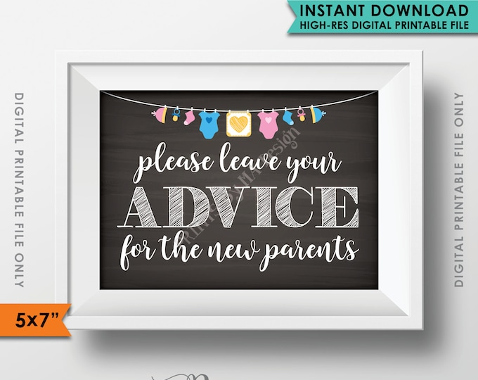 "Advice for the New Parents, Leave Your Advice, Baby Tips, Baby Shower Sign, Baby Shower Decorations, 5x7"" Instant Download Digital Printable"