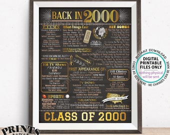 """Class of 2000 Reunion, Flashback to 2000 Poster, Back in 2000 Graduating Class Decoration, PRINTABLE 16x20"""" Sign <ID>"""
