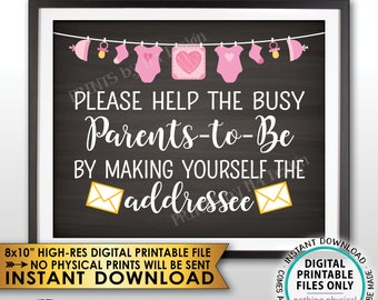 "Address an Envelope Baby Shower Help the Parents-to-Be Address Envelope, It's a Girl Pink Clothesline, Chalkboard Style PRINTABLE 8x10"" <ID>"