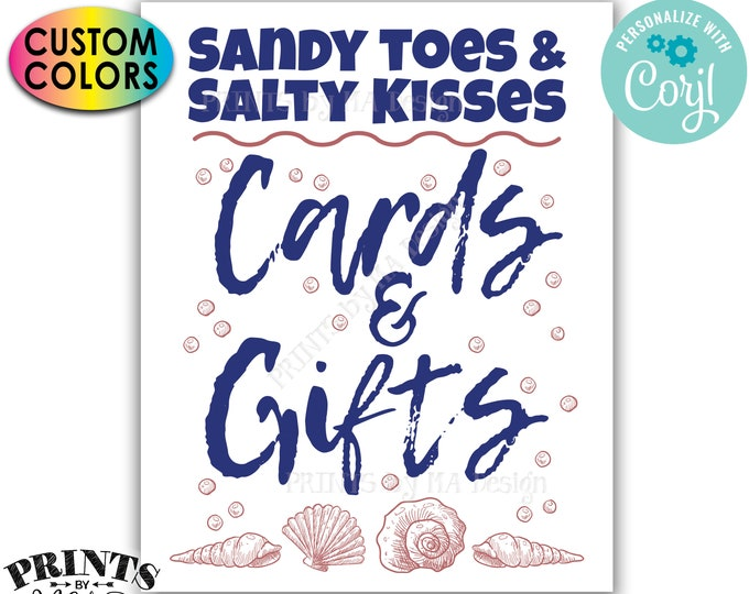 "Beach Themed Cards & Gifts Sign, Sandy Toes and Salty Kisses Bridal Shower Sign, PRINTABLE 8x10/16x20"" Sign <Edit Colors Yourself w/Corjl>"