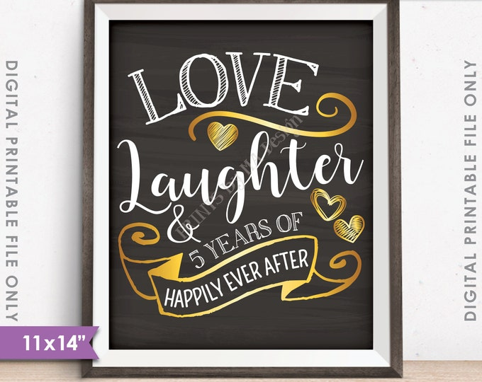 "5th Anniversary Gift, Love Laughter Happily Ever After 5 Years of Marriage Milestones, 11x14"" Instant Download Digital Printable File"
