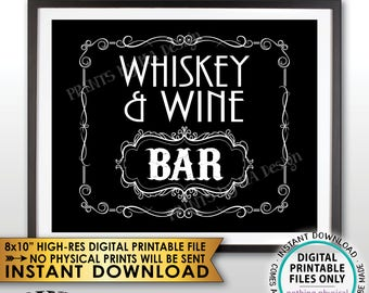 """Whiskey & Wine Bar Decor, Whiskey and Wine Bar Sign, Mancave Better with Age Vintage Whiskey Gift, Black and White PRINTABLE 8x10"""" Sign <ID>"""