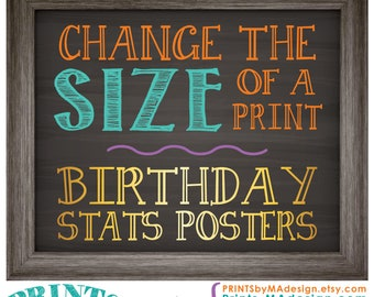 Change the size of a Birthday Stats poster in my shop to fit your needs >>>Read the Item Details Section for full info PRIOR to purchase!
