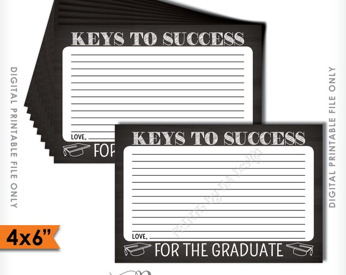 """Please share your Keys to Success with the Graduate Printable Chalkboard Card, Advice for Grad, 4x6"""" Instant Download Digital Printable File"""