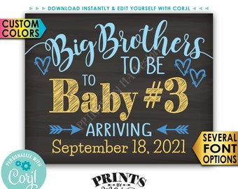 "Baby #3 Pregnancy Announcement, Big Brothers to Baby Number 3, PRINTABLE 8x10/16x20"" Sign, 3rd Baby <Edit Yourself with Corjl>"