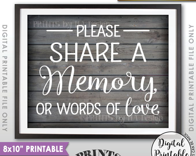 """Share a Memory Sign, Share Memories, Write a Memory, Graduation, Birthday, Anniversary, 8x10"""" Rustic Wood Style Printable Instant Download"""