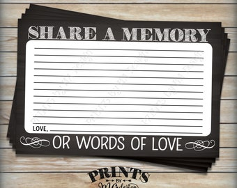 """Share a Memory Card, Share Memories or Words of Love, Memorial Card, PRINTABLE 4x6"""" Chalkboard Style Digital File <ID>"""