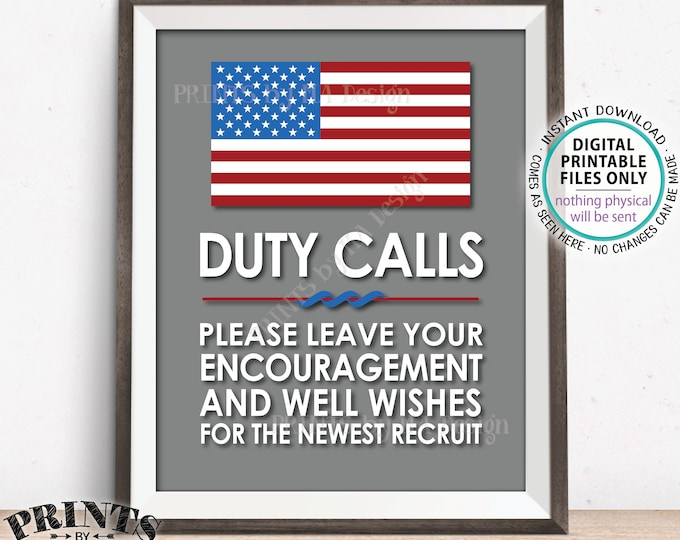 "Military Party Decor, Leave your Encouragement and Well Wishes, Boot Camp, Armed Forces, Army, Navy, Air Foce, PRINTABLE 11x14"" Sign <ID>"
