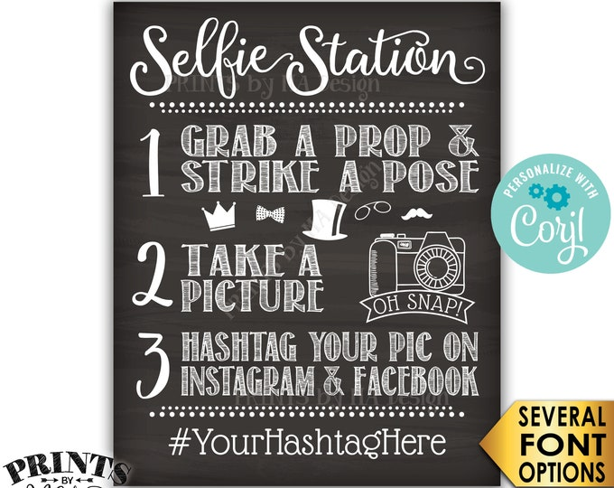 "Selfie Station Sign, Share on Instagram & Facebook, PRINTABLE 8x10/16x20"" Chalkboard Style Hashtag Sign <Edit Yourself with Corjl>"