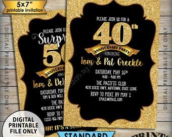 """Gold Anniversary Party Invitation, Standard or Surprise Black & Gold Glitter PRINTABLE 5x7"""" Invite, 30th 40th 50th 60th 70th Anniversary"""
