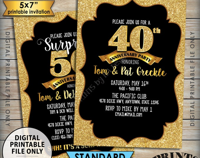 "Gold Anniversary Party Invitation, Standard or Surprise Black & Gold Glitter PRINTABLE 5x7"" Invite, 30th 40th 50th 60th 70th Anniversary"