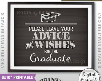 """Graduation Advice, Please Leave your Advice and Well Wishes for the Graduate Sign, 8x10"""" Chalkboard Style Printable Instant Download"""