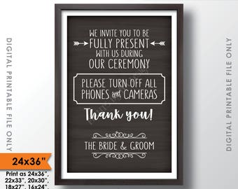 """Unplugged Ceremony Sign No Phones or Cameras Unplugged Wedding Sign, Unplugged Sign, 24x36"""" Chalkboard Style Printable Instant Download"""