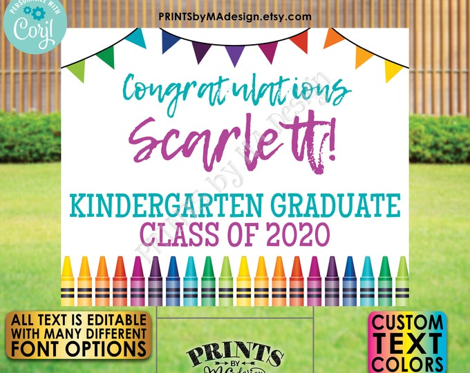 """Editable Graduation Sign with Crayons and Bunting Flags, Custom PRINTABLE 8x10/16x20"""" Landscape Grad Party Decor <Edit Yourself w/Corjl>"""