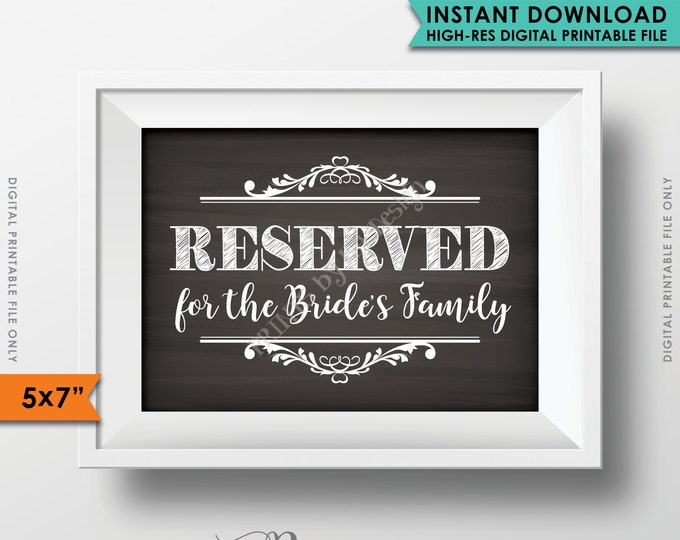 """Reserved Sign, Reserved for the Bride's family, Reserved for the family, Reserved Section, Saved Seating, 5x7"""" Instant Download Printable"""
