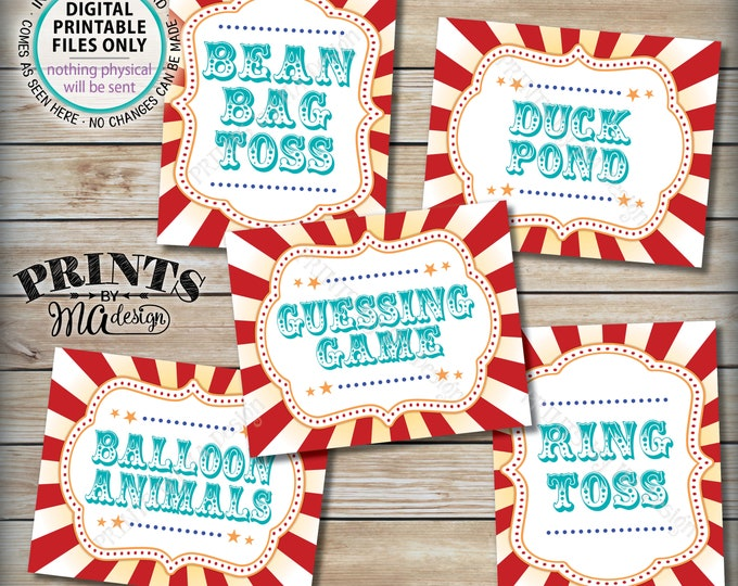 """Carnival Games Signs, Carnival Theme Party, Bean Bag, Ring Toss, Duck Pond, Circus Party, Teal/Turquoise, PRINTABLE 8x10/16x20"""" Signs <ID>"""