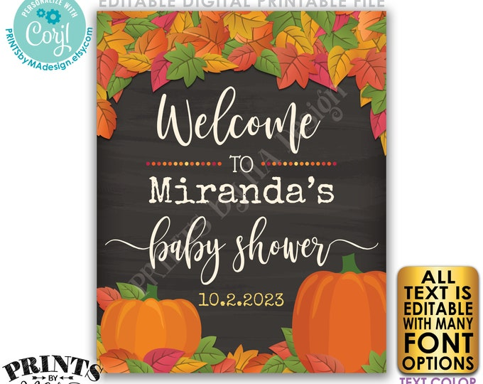 """Editable Fall Themed Baby Shower Sign, PRINTABLE Chalkboard Style 16x20"""" Fall in Love with Baby Welcome Poster <Edit Yourself w/Corjl>"""