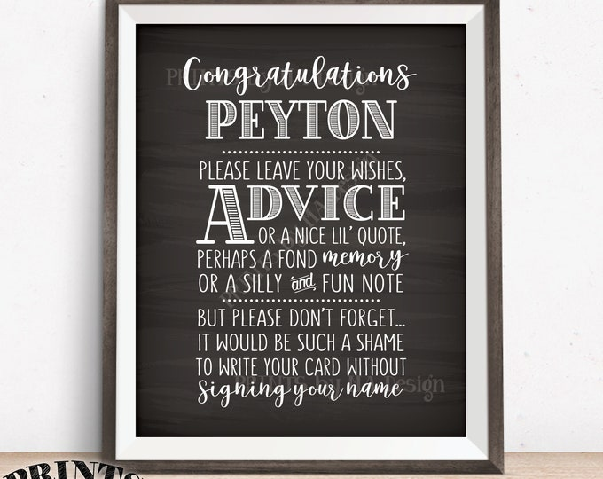 """Graduate Advice Sign, Please leave your Advice, Wish, Memory for the Graduate Advice, PRINTABLE 8x10"""" Chalkboard Style Grad Party Decor"""