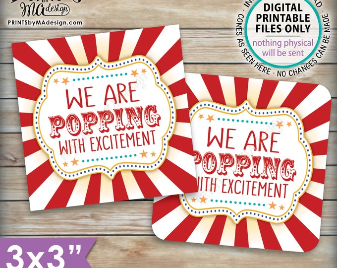 "Baby Shower Popcorn Tags, We are Popping with Excitement Baby Shower Favors, Circus Carnival, 3x3"" cards on 8.5x11"" PRINTABLE Sheet <ID>"
