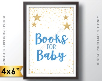 """Books for Baby Sign, Books Sign, Baby Shower Sign, Blue Baby Shower Decor with Gold Glitter Stars, 4x6"""" PRINTABLE Sign <Instant Download>"""