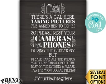 """Unplugged Wedding Ceremony, We Hired a Photographer & Asked Her to Come, PRINTABLE Chalkboard Style 16x20"""" Sign <Edit Yourself with Corjl>"""