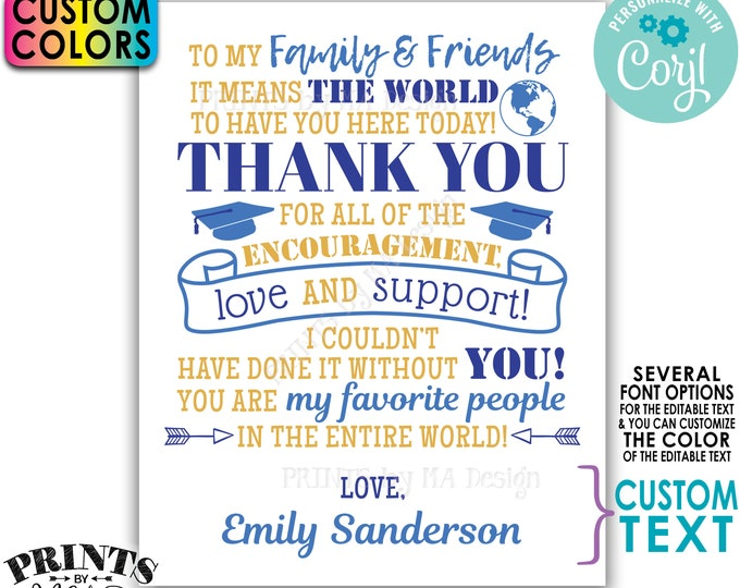 Graduation Party Thank You Sign, Thanks from the Graduate Poster, Editable PRINTABLE Grad Party Decoration <Edit Yourself w/Corjl>